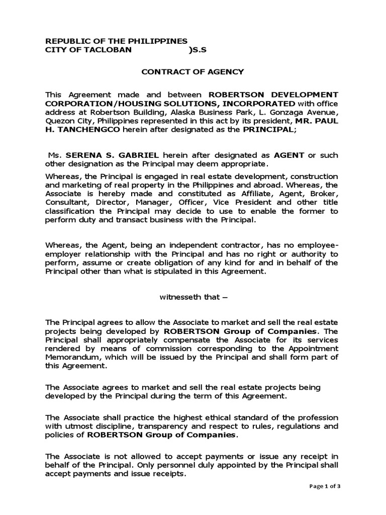 Contract Of Agency Template Law Of Agency Business Law