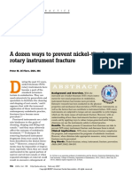 A Dozen Ways to Prevent Nickel-Titanium Rotary Instrument Fracture