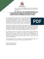 NP PLENO DE JNE EN SESION PRIVADA POR CASOS DE TPP Y APP