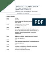 """Programa del evento """"Ética y Liderazgo Del Periodista Contemporáneo"""""""
