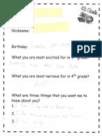 classroom interest form example