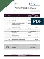 CFA Level I - Planning - Geneva June 2015 - Week-End