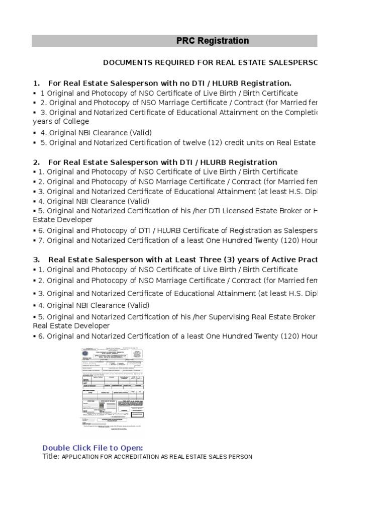 Llanto Realty Application Form Real Estate Broker Notary Public