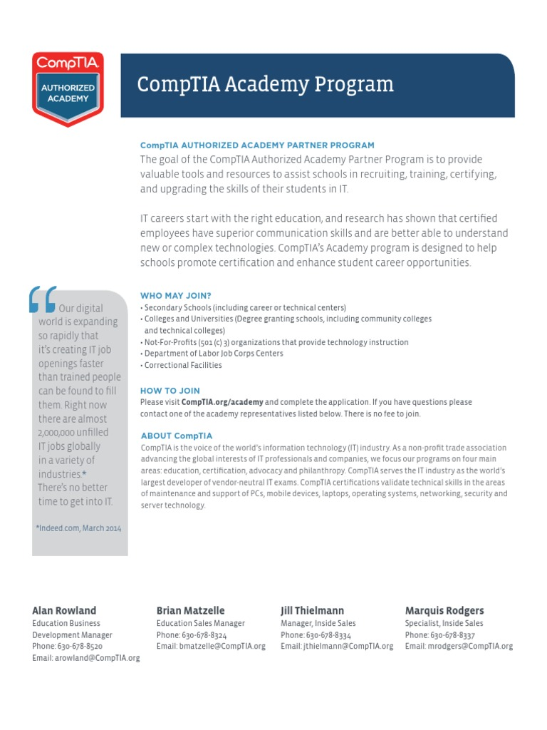 Academy Fact Sheet Us Online Comp Tia Technology