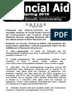 Financial Aid Notice Spring 2016