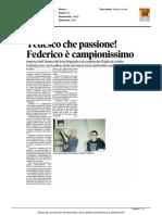 Tedesco che passione! Federico è campionissimo - Il Tirreno del 9 marzo 2016
