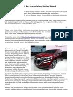 Trik Membeli Mobil Pertama dalam Dealer Resmi