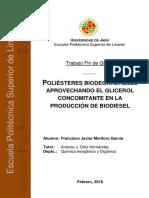 Poliéster Biodegradables a partir del Glicerina concomitante en la producción de Biodiesel.