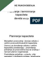 Ekonomski Fakultet Tehnike Rukovođenja Planiranje Kapaciteta- Deveta Lekcija 2013ppt