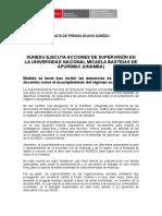 SUNEDU ejecuta acciones de supervisión en la Universidad Nacional Micaela Bastidas de Apurímac