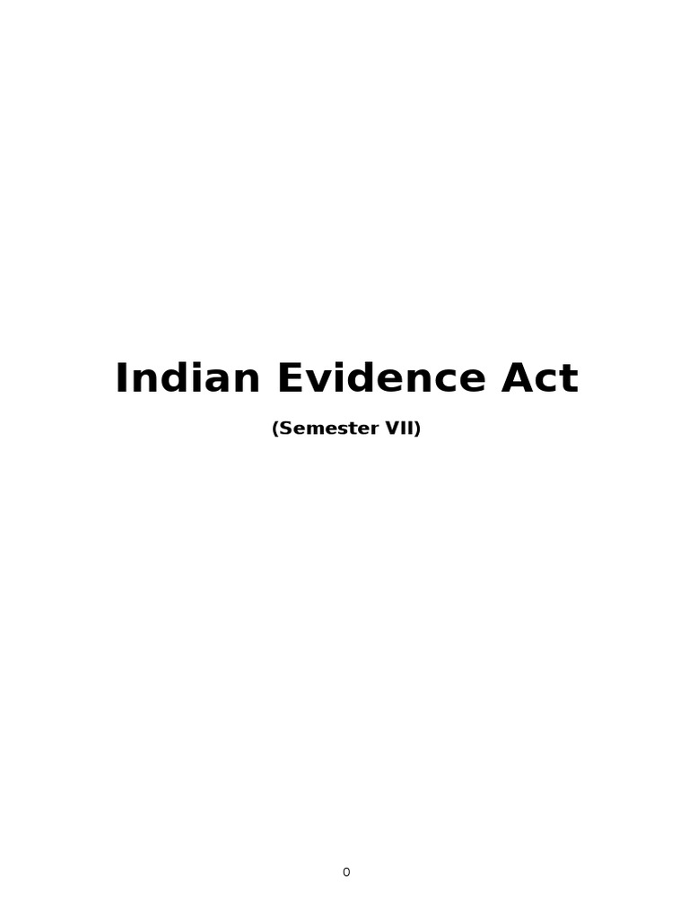 Indian Evidence Act Notes For Exam Circumstantial Evidence