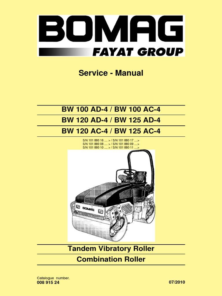 Bomag bw 141 151 ad/ac vib. Roller service shop repair manual.