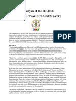IIT-JEE PAPER ANALYSIS BY ANURAG TYAGI CLASSES