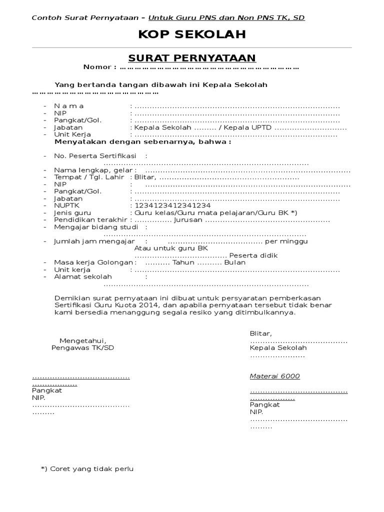 Contoh surat pernyataan untuk guru pns thecheapjerseys Image collections