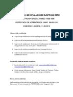 Certificacion de Instalaciones Electricas Retie
