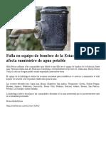 Falla en Equipo de Bombeo de La Estación Santa Ana Afecta Suministro de Agua Potable