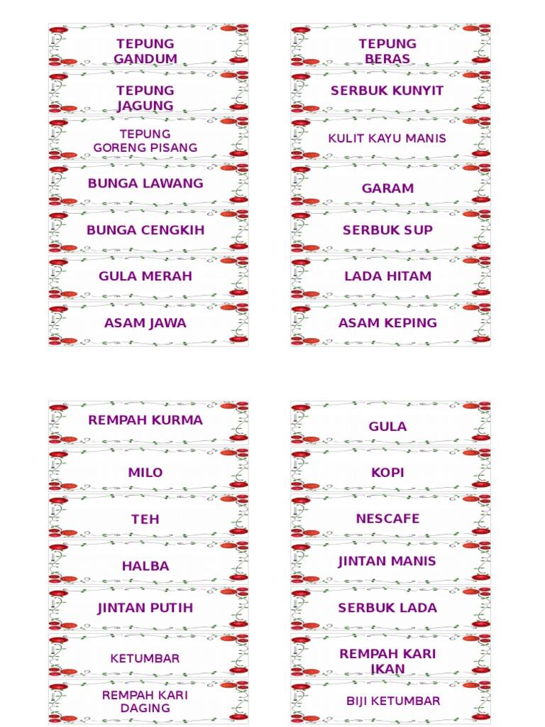 Label Barang Dapur