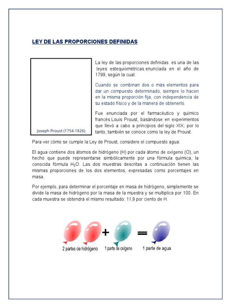 Ley De Las Proporciones Definidas Y Multiples Estequiometría Hidrógeno