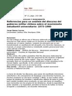 Referencias Para Un Análisis Del Discurso Del Gobierno Militar Chileno Sobre El Movimiento Estudiantil Universitario- 1973-1980