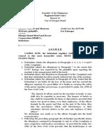 Sample Answer for Civil Case