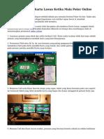 Trik Memprediksi Kartu Lawan Ketika Main Poker Online