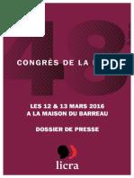 Dossier de Presse - 48e Congrès de la Licra