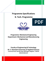 B Tech Programme Specifications ME