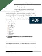 Alpha Leaders Worksheet