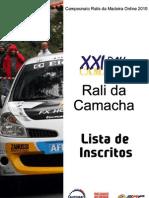 Lista Inscritos Oficial - Rali Da Camacha 2010