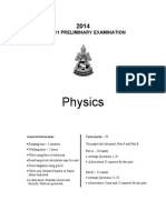 Physics Preliminary 2014 Exam