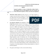Order in respect of application filed by Munjal M Jaykrishna Family Trust under regulation 11 of Takeover Regulations, 2011 for acquisition of shares in AksharChem (India) Limited