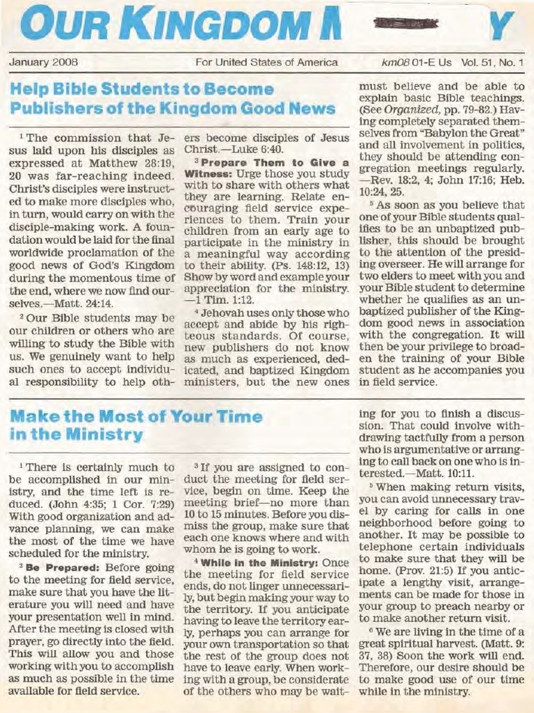 Watchtower: Kingdom Ministry, 2008 issues - missing August | Gospel