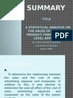 Statistics Powerpoint Presentation- Regression