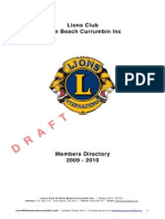 Lions Club of Palm Beach-Currumbin Members Directory |  2009 - 2010