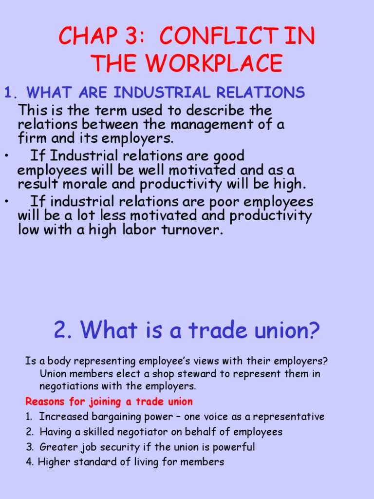 conflict between union and management