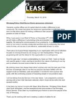 Clunis statement on retirement