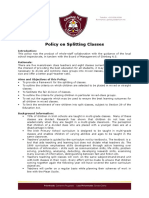 Glenbeg N.S. Policy on Splitting Classes 2015