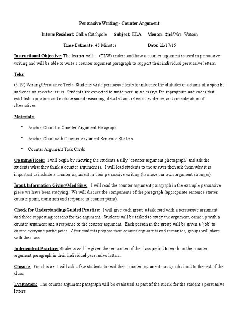 persuasive writing   counter argument   Persuasion   Argument