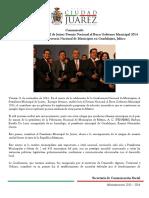 2014-11-21 Recibe Presidente Municipal de Juárez Premio Nacional al Buen Gobierno Municipal 2014                    Participa en Conferencia Nacional de Municipios en Guadalajara, Jalisco