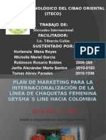 Plan de marketing internacional Colombia geysha`s line
