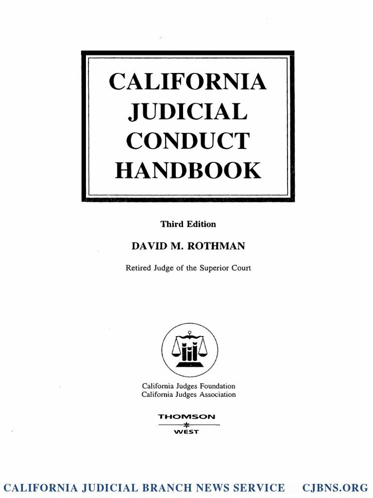 California Judicial Conduct Handbook Excerpt David M Rothman