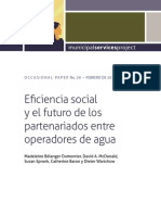 Eficiencia social y el futuro de los partenariados entre operadores de agua