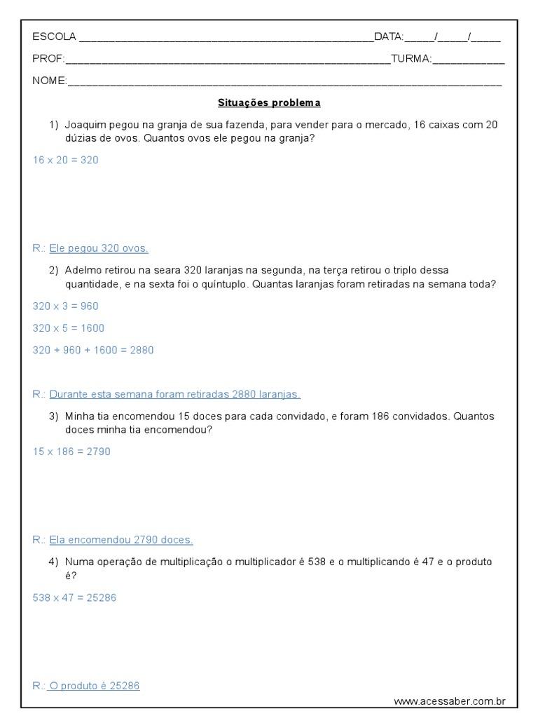 Problemas De Matematica Multiplicacao 4º Ano Respostas