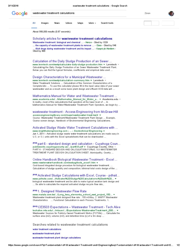Wastewater Treatment Calculations - Google Search