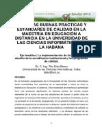 Hacia Las Buenas Practicas y Estandares de Calidad en La Maestria en EAD en La UCI