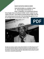 Kilonzo John Rugby Profile