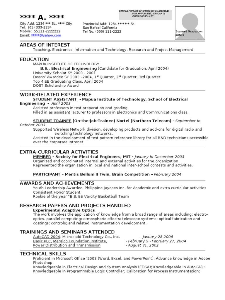 Resume Format Sample Instrumentation Programmable Logic Controller