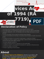 National Blood Services Act of 1994 RA