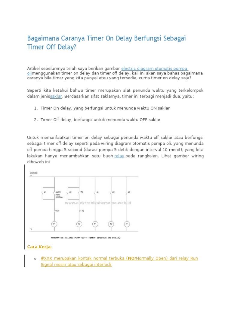 Wiring Diagram Otomatis Menggunakan Timer Off