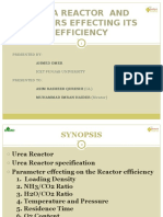 Urea 3 Reactor Efficiency and Optimum Parameters